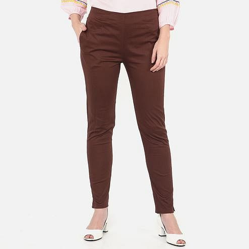 Prominent Brown Colored Casual Wear Cotton Lycra Stretchable Trousers