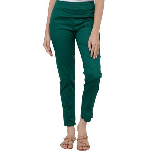 Appealing Green Colored Casual Wear Cotton Lycra Stretchable Trousers