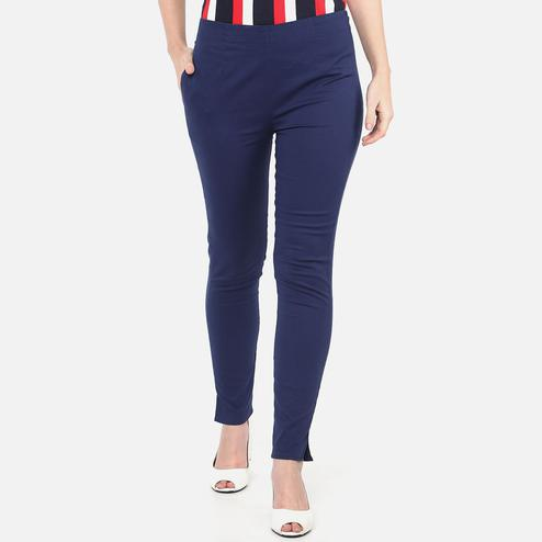 Capricious Navy Blue Colored Casual Wear Cotton Lycra Stretchable Trousers