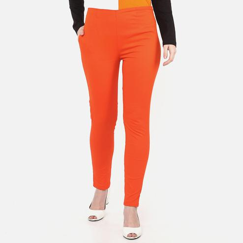 Classy Orange Colored Casual Wear Cotton Lycra Stretchable Trousers