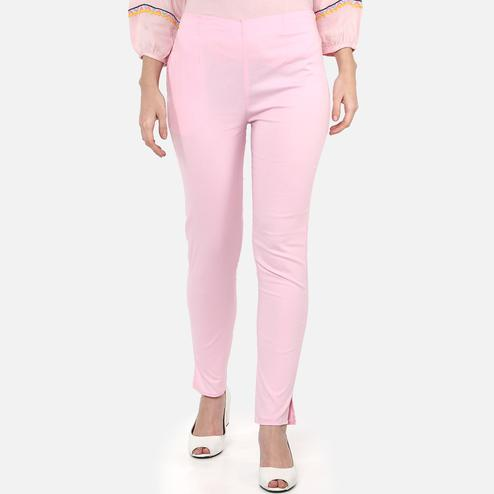 Flaunt Pink Colored Casual Wear Cotton Lycra Stretchable Trousers