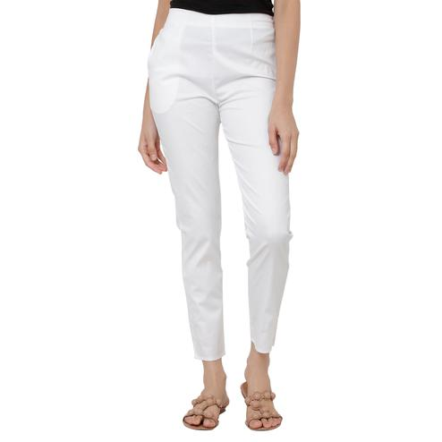 Stunning White Colored Casual Wear Cotton Lycra Stretchable Trousers