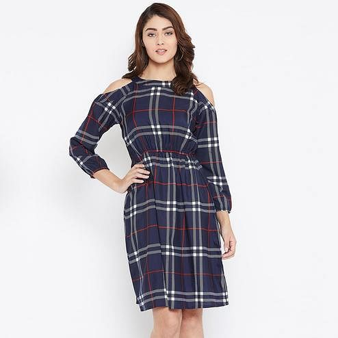 Adorable Navy Blue Color Casual Wear Checked Printed Knee Length Crepe Dress