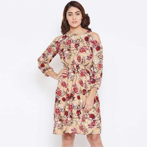 Glorious Cream Colored Casual Wear Floral Printed Knee Length Crepe Dress