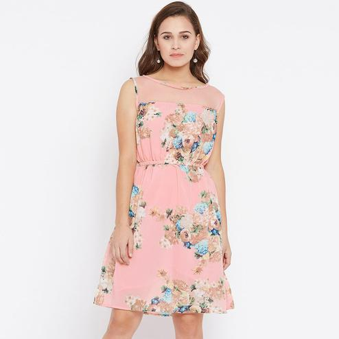 Intricate Peach Colored Casual Wear Floral Printed Georgette Dress