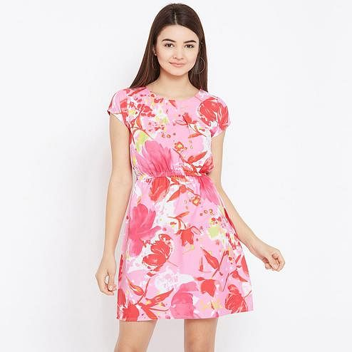 Pleasant Pink Colored Casual Wear Floral Printed Crepe Dress