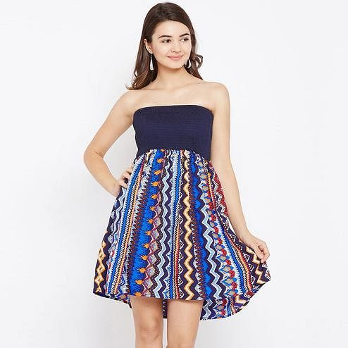 Gleaming Navy Blue and Multicolor Casual Wear Printed Crepe Tube Dress