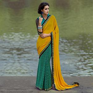 Orange - Green Digital Print Saree