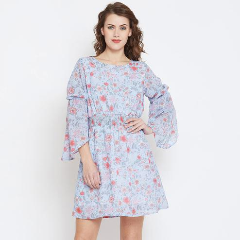 Jazzy Blue Colored Casual Wear Floral Printed Georegette Dress