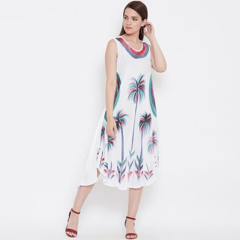 Gorgeous White Colored Casual Wear Floral Printed Rayon Dress