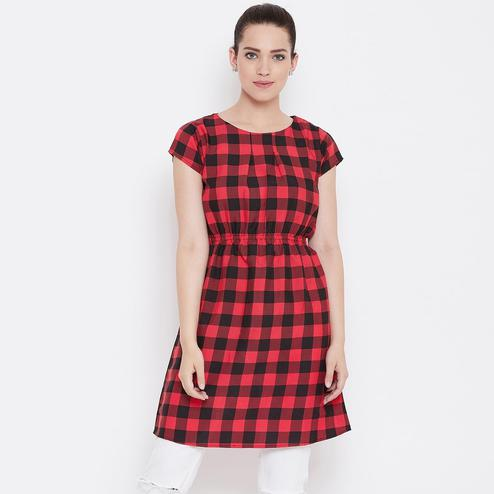 Lovely Red and Black Color Casual Wear Check Printed Crepe Dress