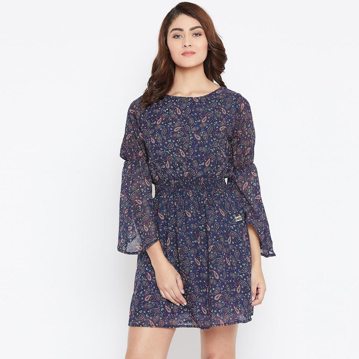 Opulent Navy Blue Color Casual Wear Paisley Printed Georgette With Cotton lining Knee Length Dress