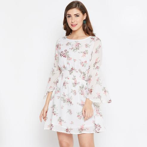 Sensational White Color Casual Wear Floral Printed Georgette with Cotton lining Knee Length Dress