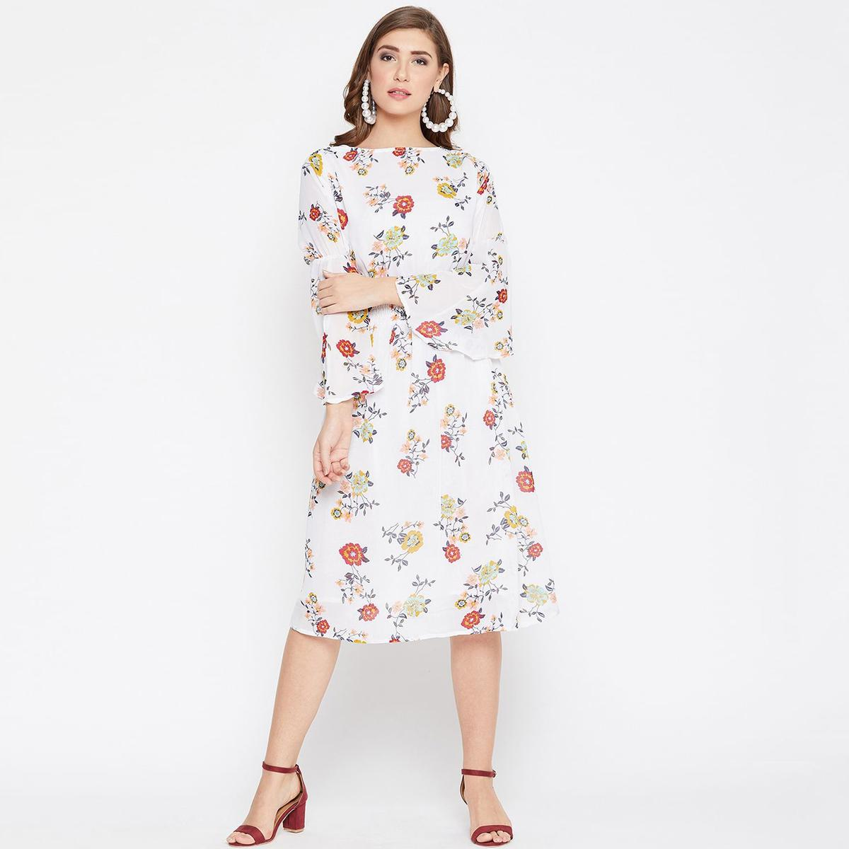 Flaunt White Color Casual Wear Floral Printed Georgette with Cotton lining Knee Length Dress