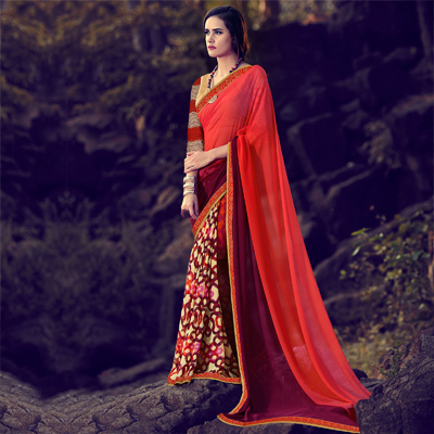 Multi Color Digital Print Half & Half Saree