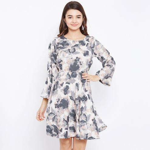 Prominent Cream and Grey Colored Casual Wear Floral Printed Knee Length Crepe Dress