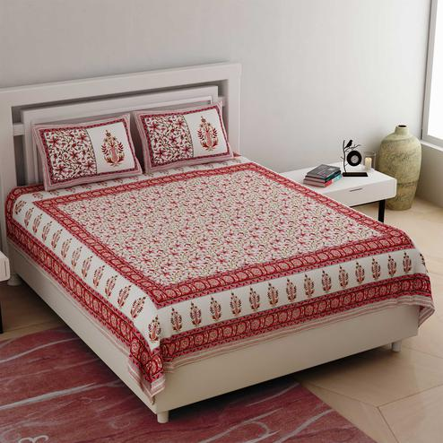 Beautiful White-Pink Colored Floral Printed Cotton Double Bedsheet With Cushion Cover