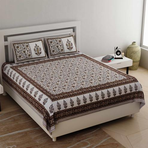 Blooming White-Brown Colored Floral Printed Cotton Double Bedsheet With Cushion Cover