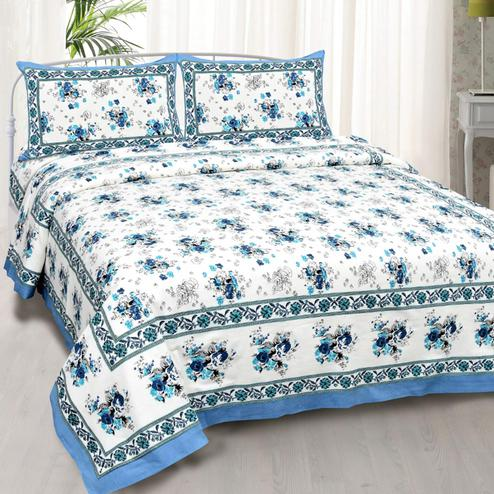 Charming White-Blue Colored Floral Printed Cotton Double Bedsheet With Pillow Cover