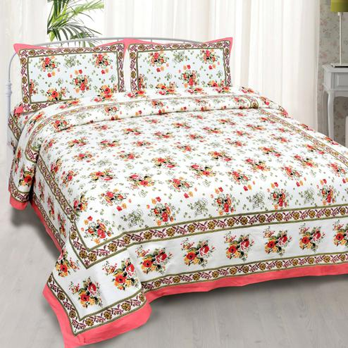 Jazzy White-Pink Colored Floral Printed Cotton Double Bedsheet With Pillow Cover