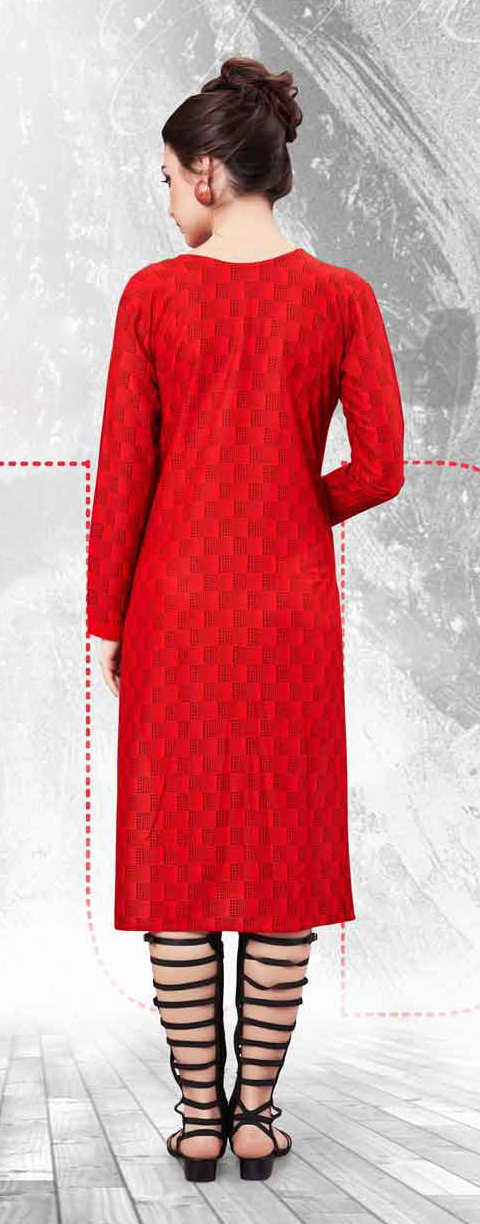Red Rayon Cotton Printed Kurti