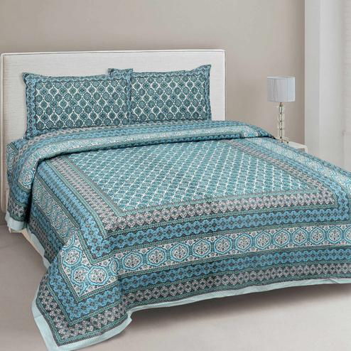 Innovative Blue Colored Printed Cotton Double Bedsheet With Cushion Cover
