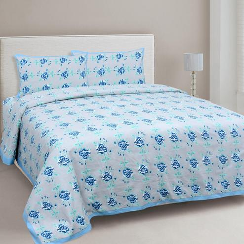 Eye-catching Grey-Blue Colored Floral Printed Cotton Double Bedsheet With Pillow Cover