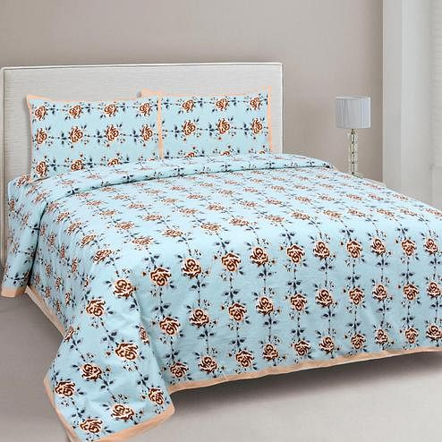 Amazing Blue-Brown Colored Floral Printed Cotton Double Bedsheet With Cushion Cover