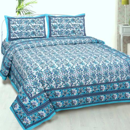 Gorgeous Blue Colored Floral Printed Cotton Double Bedsheet With Cushion Cover