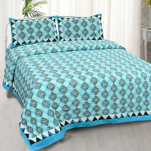 Imposing Blue Colored Printed Cotton Double Bedsheet With Cushion Cover