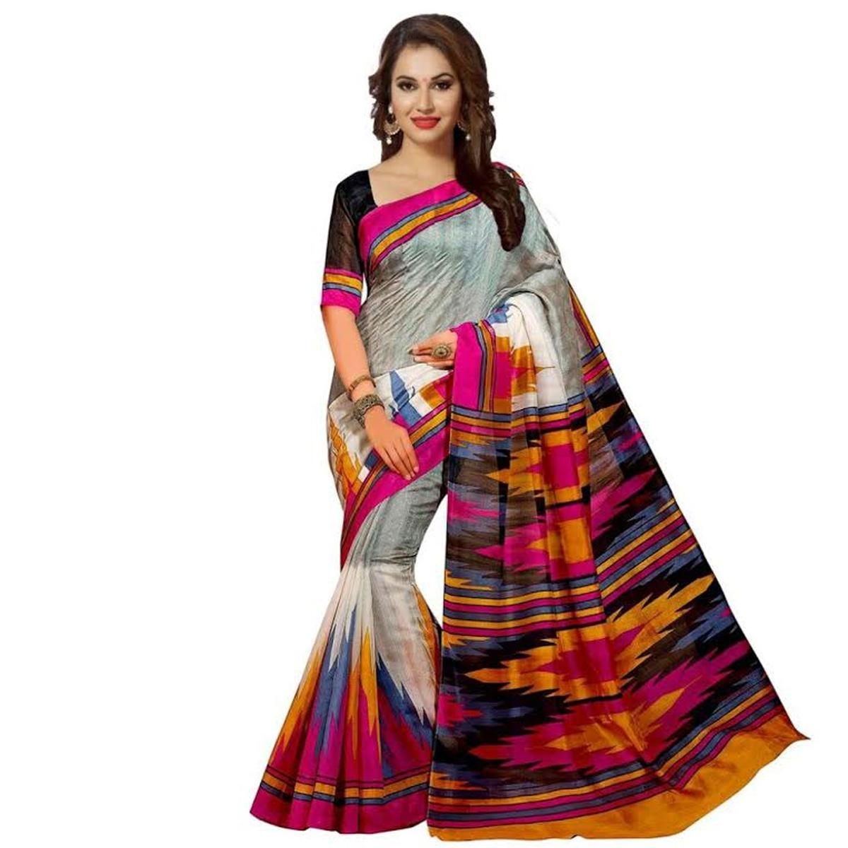 Multicolored Printed Bhagalpuri Saree