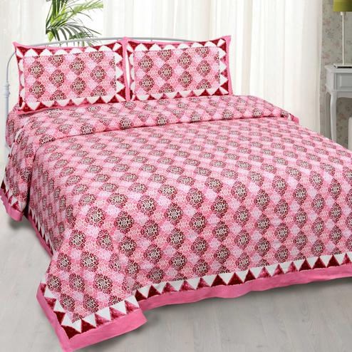 Lovely Pink Colored Printed Cotton Double Bedsheet With Cushion Cover