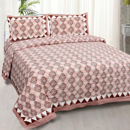 Majesty Brown Colored Printed Cotton Double Bedsheet With Cushion Cover