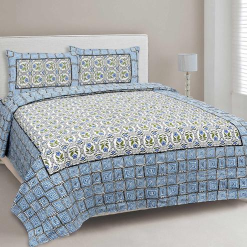 Impressive Blue Colored Floral Printed Cotton Double Bedsheet With Pillow Cover