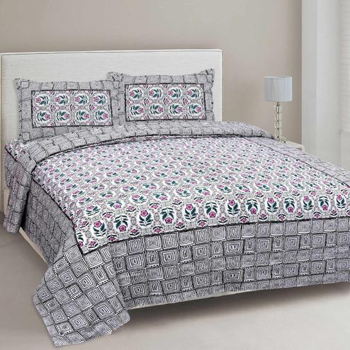 Pleasance White-Grey Colored Floral Printed Cotton Double Bedsheet With Cushion Cover