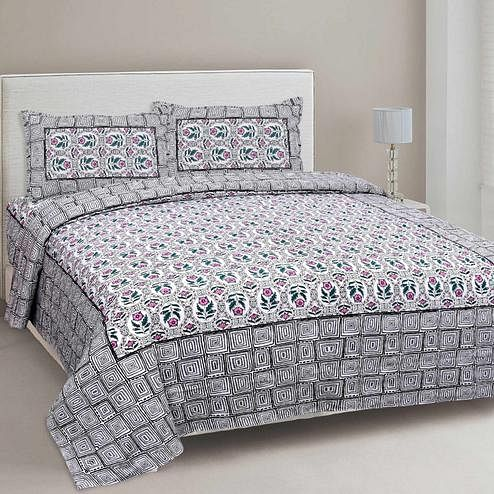 Pleasance White-Grey Colored Floral Printed Cotton Double Bedsheet With Pillow Cover