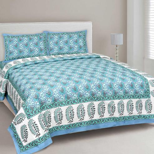 Breathtaking Blue Colored Floral Printed Cotton Double Bedsheet With Cushion Cover