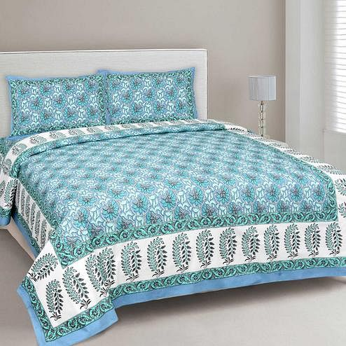 Breathtaking Blue Colored Floral Printed Cotton Double Bedsheet With Pillow Cover
