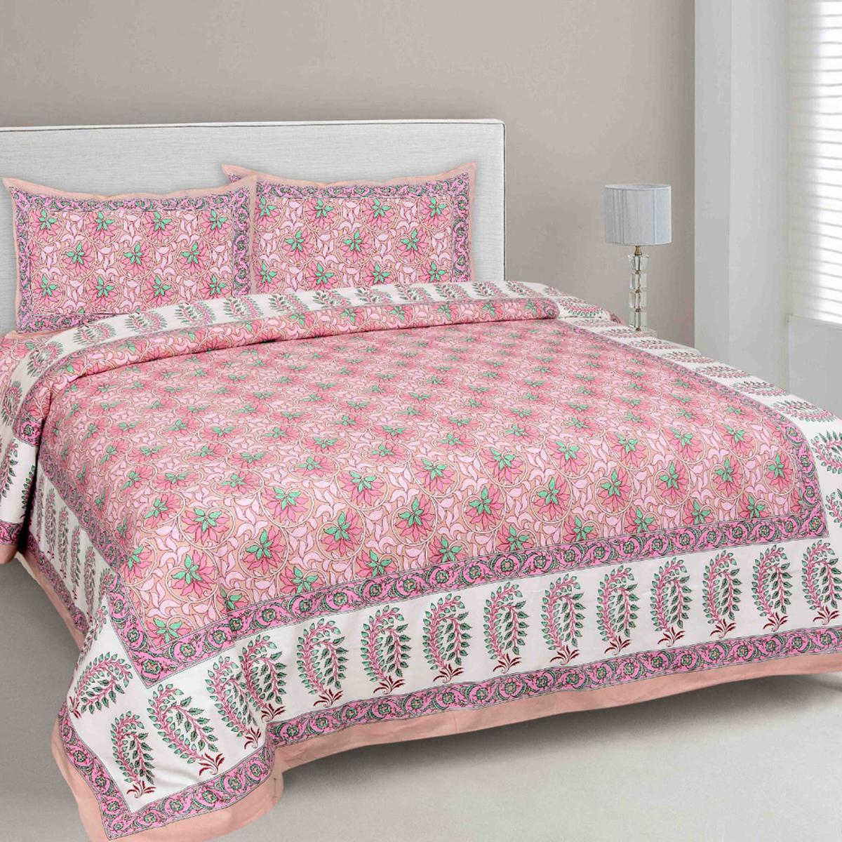Ethnic Pink Colored Floral Printed Cotton Double Bedsheet With Pillow Cover