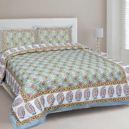 Ravishing Green Colored Floral Printed Cotton Double Bedsheet With Cushion Cover