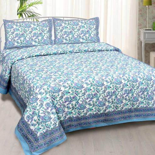 Staring Blue Colored Floral Printed Cotton Double Bedsheet With Pillow Cover