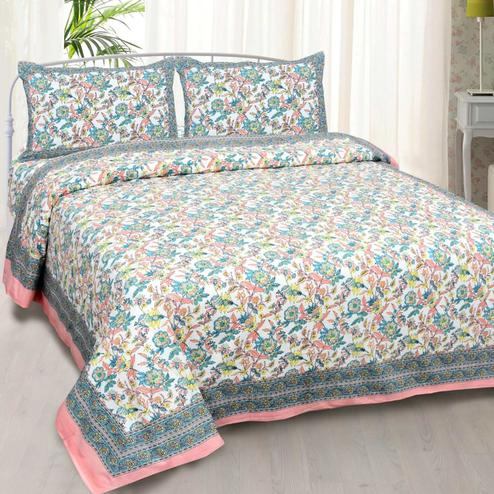 Dazzling Multi Colored Floral Printed Cotton Double Bedsheet With Pillow Cover