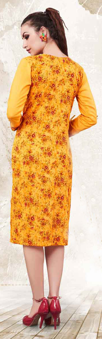 Yellow Full Sleeves Printed Kurti