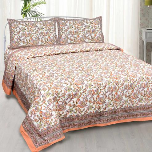 Surpassing Peach Colored Floral Printed Cotton Double Bedsheet With Cushion Cover