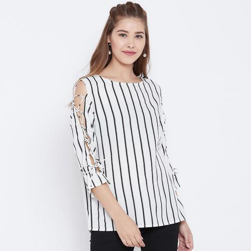 Jazzy White and Black Color Casual Wear Tie up Sleeve Crepe Top