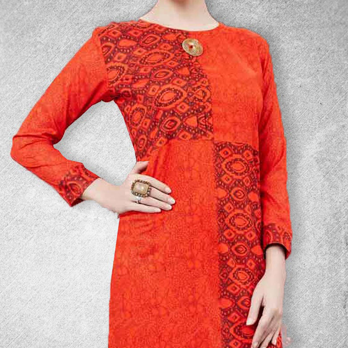 Red Printed Stitched Kurti