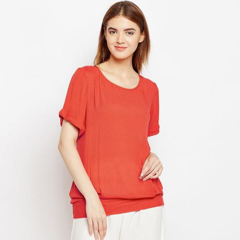 Engrossing Coral Red Color Casual Wear Plain Rayon Top