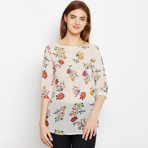 Captivating Cream Color Casual Wear Floral Printed Georgette Top