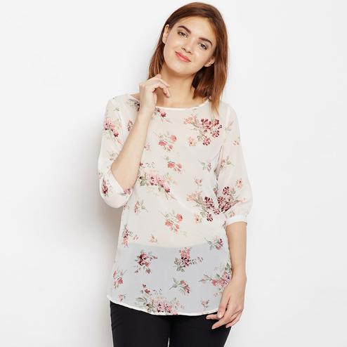 Innovative Off White Color Casual Wear Floral Printed Georgette Top