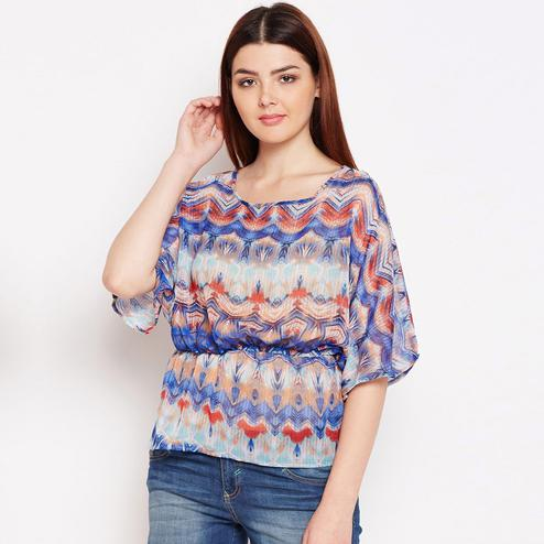 Gorgeous Multicolor Casual Wear Printed Georgette Top